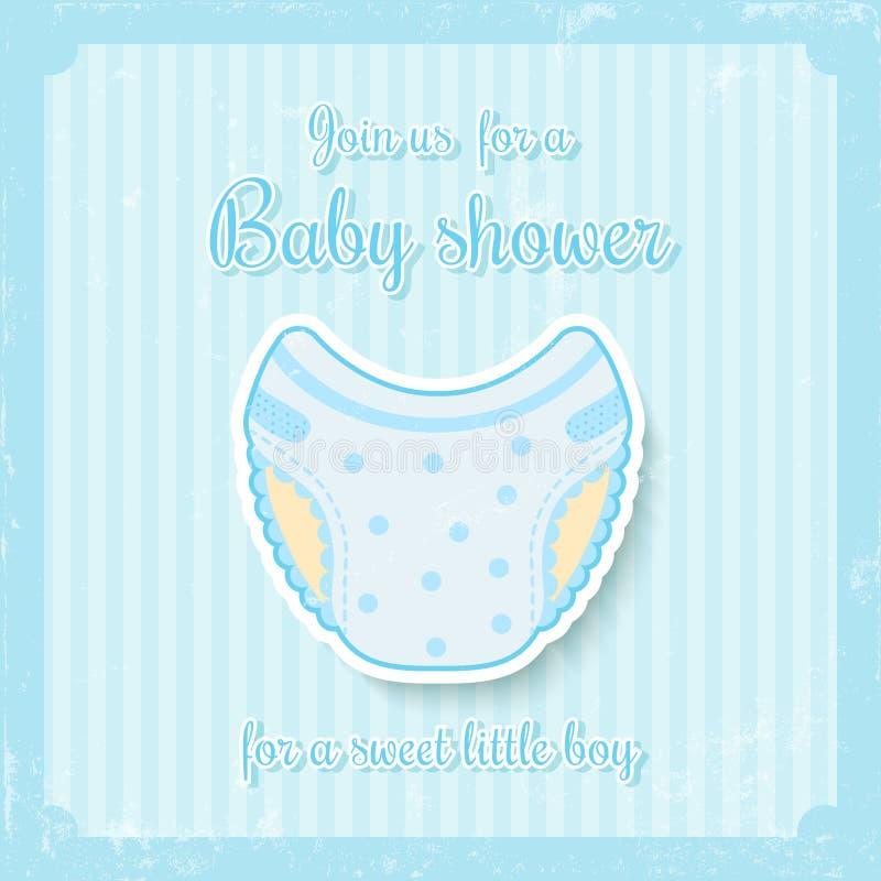 Fiesta de bienvenida al bebé del muchacho stock de ilustración