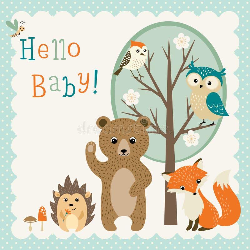 Fiesta de bienvenida al bebé linda de los amigos del arbolado libre illustration