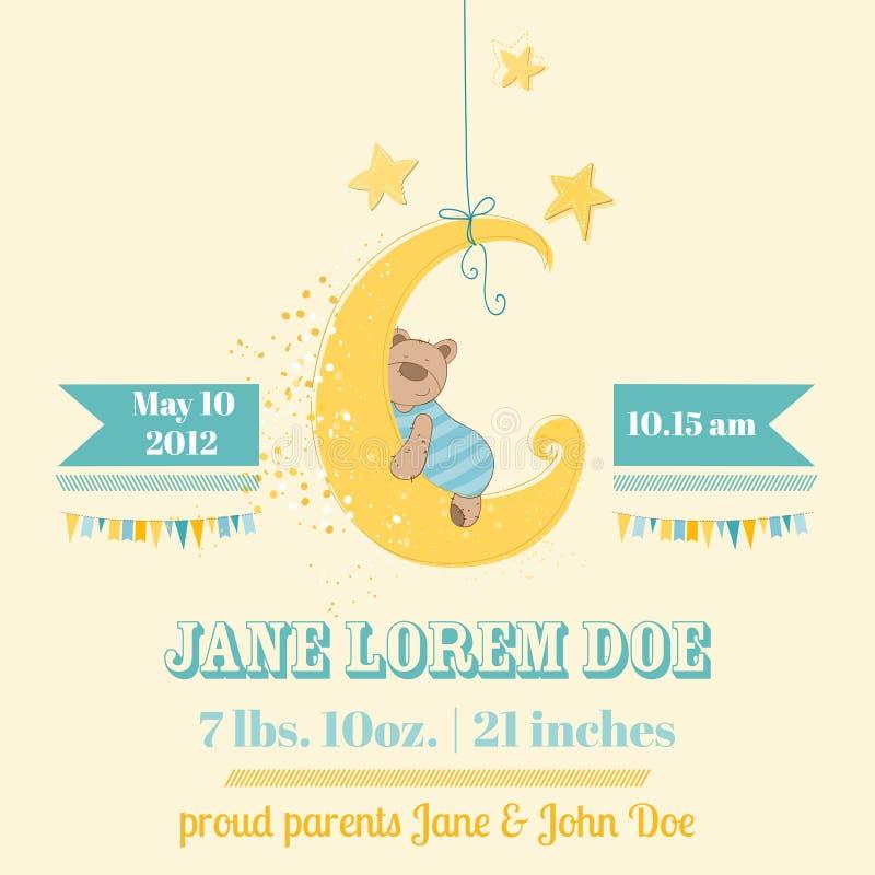 Fiesta de bienvenida al bebé o tarjeta de llegada stock de ilustración
