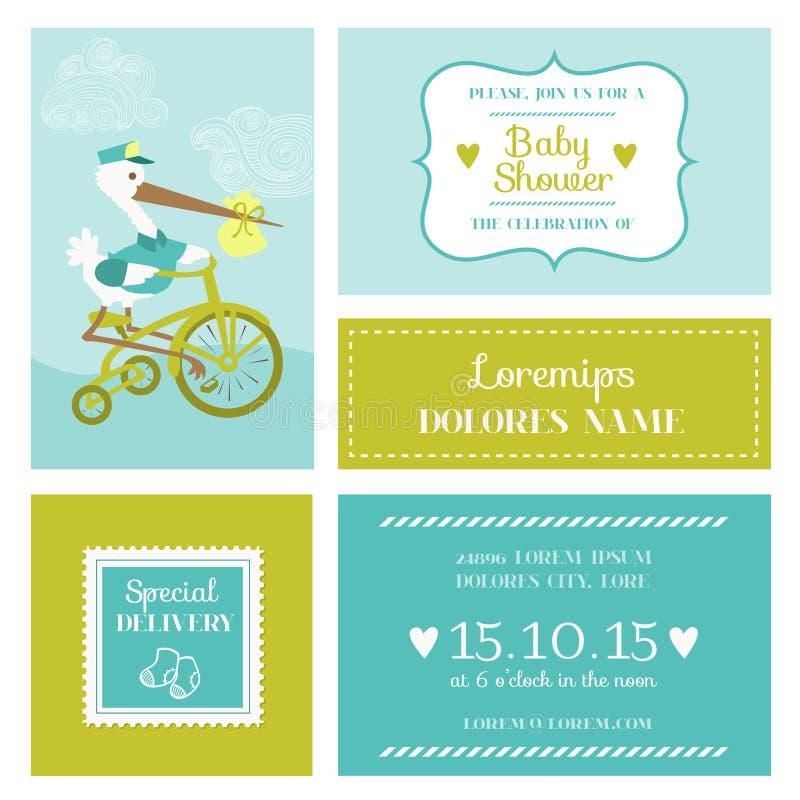 Fiesta de bienvenida al bebé o tarjeta de llegada con la cigüeña stock de ilustración