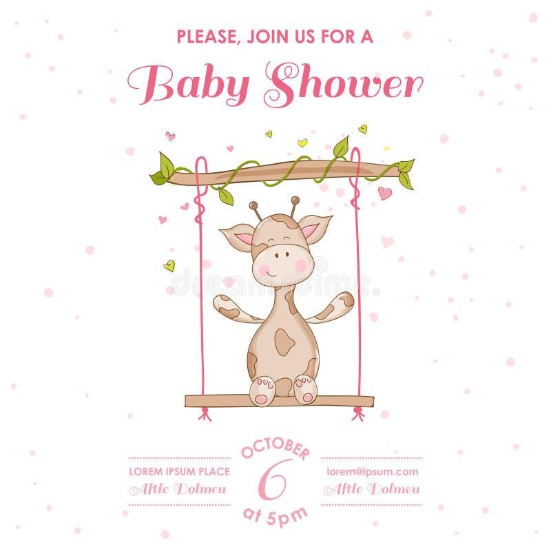 Fiesta de bienvenida al bebé o tarjeta de llegada con la jirafa del bebé stock de ilustración