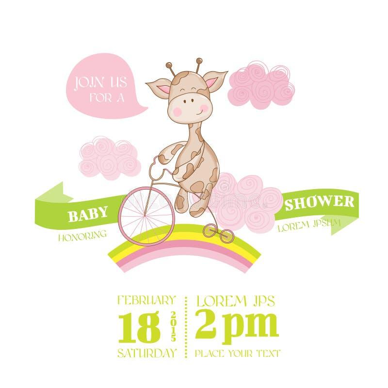 Fiesta de bienvenida al bebé o tarjeta de llegada con la jirafa del bebé libre illustration