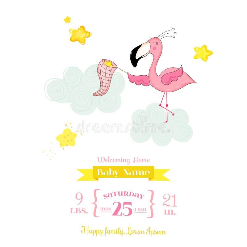 Fiesta de bienvenida al bebé o tarjeta de llegada - estrellas de cogida de la muchacha del flamenco del bebé stock de ilustración
