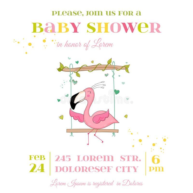 Fiesta de bienvenida al bebé o tarjeta de llegada - muchacha del flamenco del bebé stock de ilustración