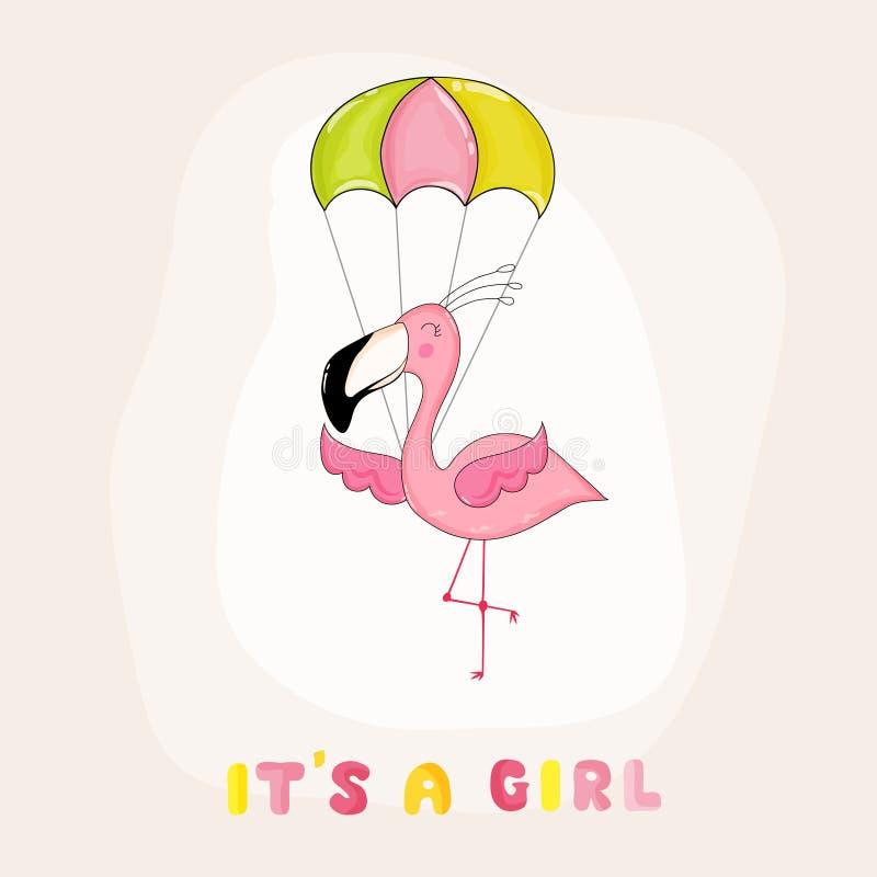 Fiesta de bienvenida al bebé o tarjeta de llegada - muchacha del flamenco del bebé ilustración del vector