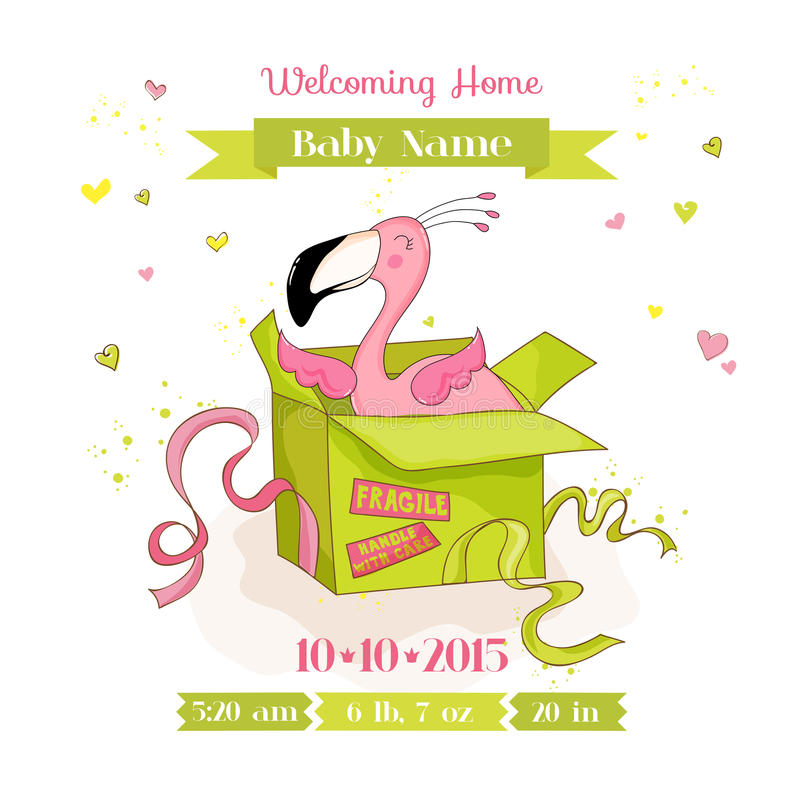 Fiesta de bienvenida al bebé o tarjeta de llegada - muchacha del flamenco del bebé en una caja libre illustration