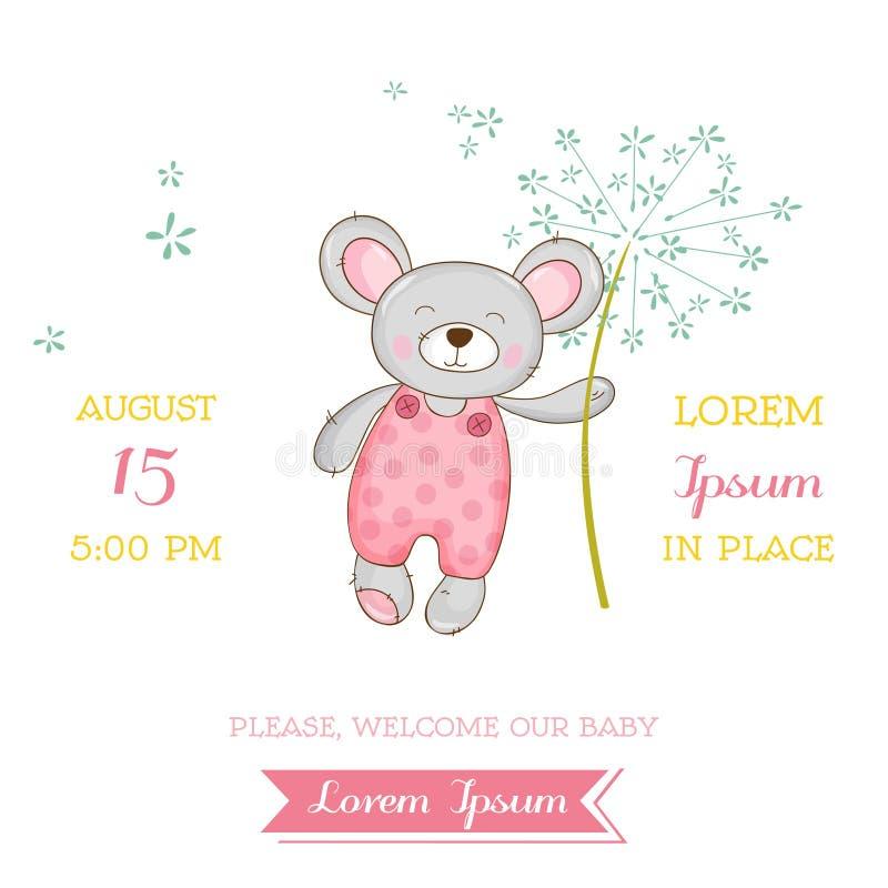 Fiesta de bienvenida al bebé o tarjeta de llegada - muchacha del ratón del bebé stock de ilustración
