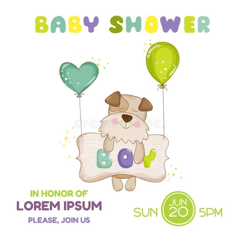 Fiesta de bienvenida al bebé o tarjeta de llegada - perro del bebé stock de ilustración