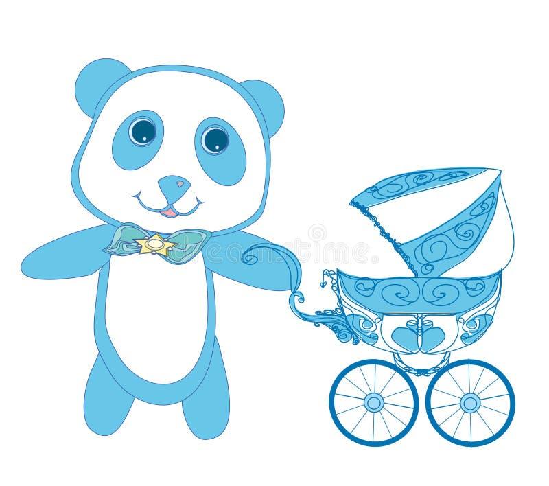 Fiesta de bienvenida al bebé - su un muchacho stock de ilustración