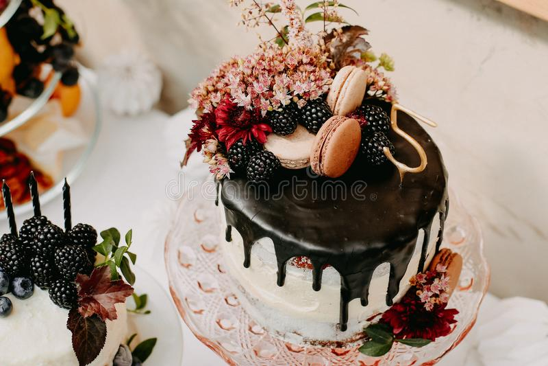 Fiesta de cumpleaños del diseño al aire libre con los baloons y la torta de chocolate del goteo fotografía de archivo libre de regalías