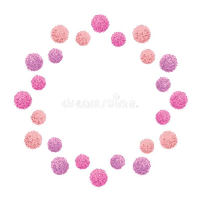 Fiesta de cumpleaños del rosa del bebé del vector Pom Poms Circle Set y marco redondo Grande para las tarjetas hechas a mano, inv stock de ilustración