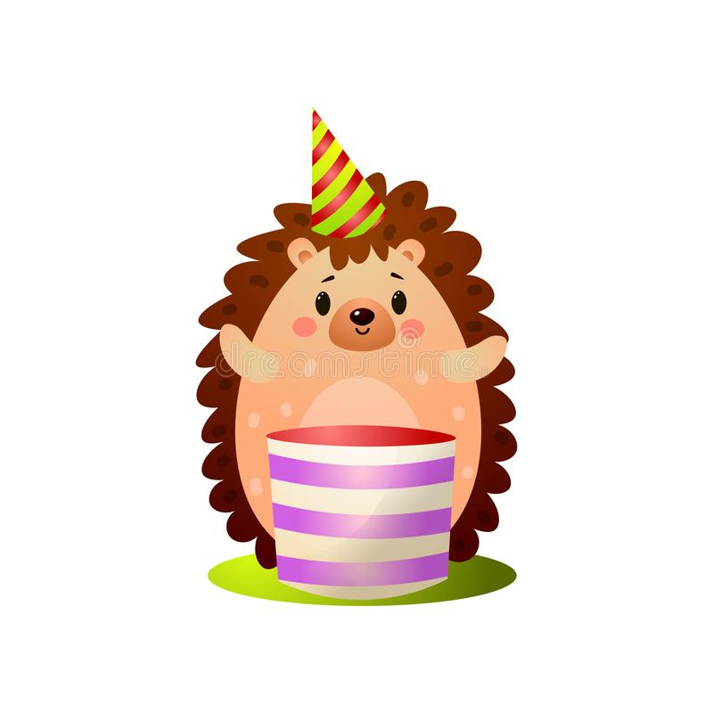 Fiesta de cumpleaños feliz de los ricos del erizo del bosque con la torta grande libre illustration
