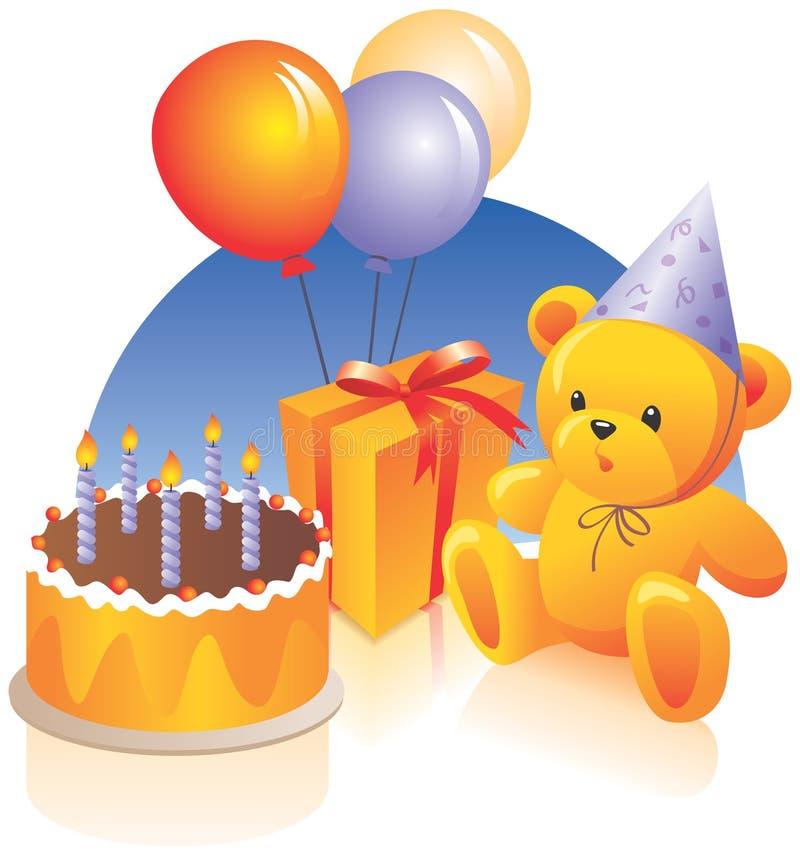 Fiesta de cumpleaños - torta, presente stock de ilustración