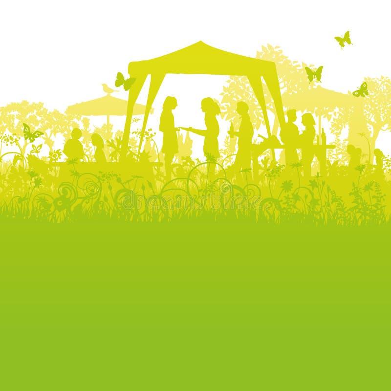 Fiesta de jardín grande en el jardín stock de ilustración