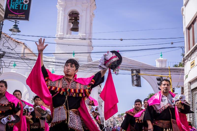 Fiesta de la Virgen Guadalupe in Sucre stockfotografie