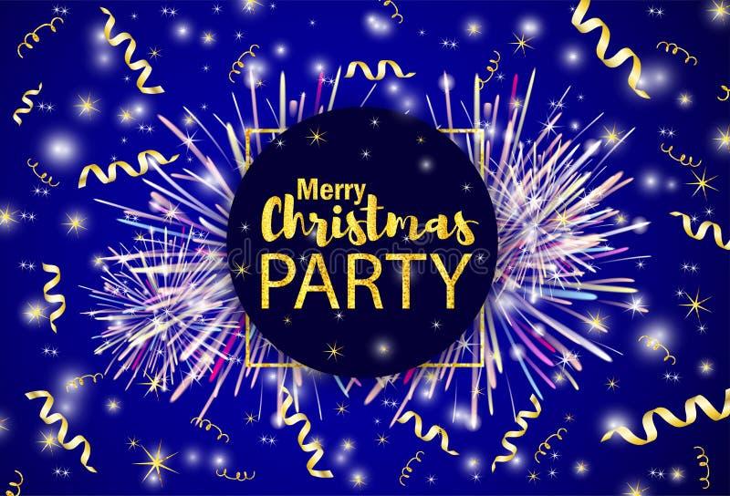 Fiesta de Navidad y cintas del texto del oro felices en el backgr brillante stock de ilustración
