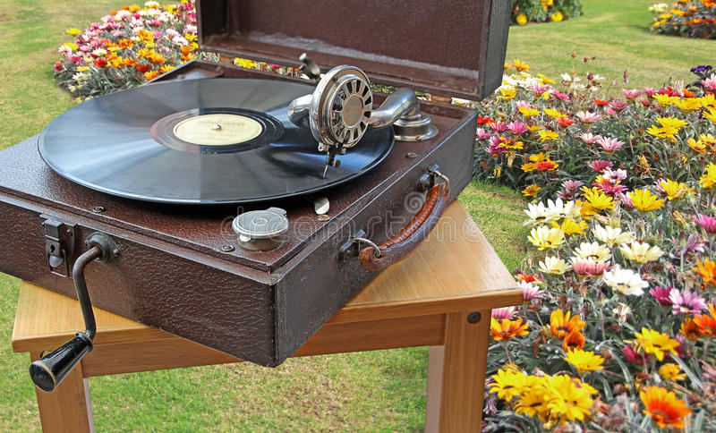 Fiesta del té del jardín del fonógrafo fotos de archivo
