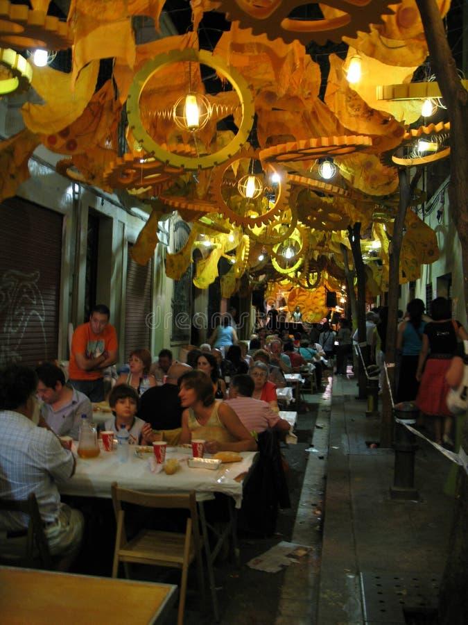 Fiesta en la calle de Barcelona fotografía de archivo libre de regalías