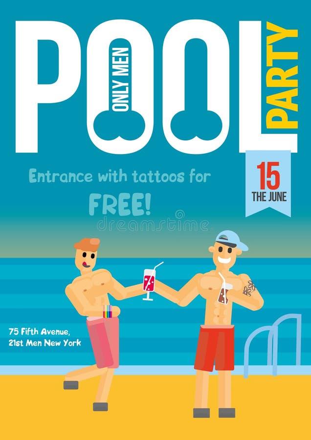 Fiesta en la piscina gay Plantilla para el diseño del cartel libre illustration