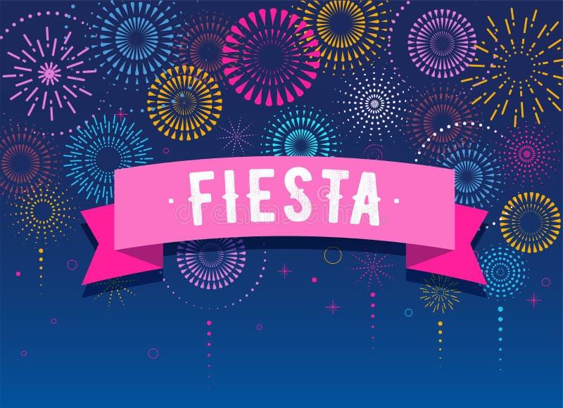 Fiesta, feux d'artifice et fond de célébration, gagnant, conception d'affiche de victoire illustration libre de droits