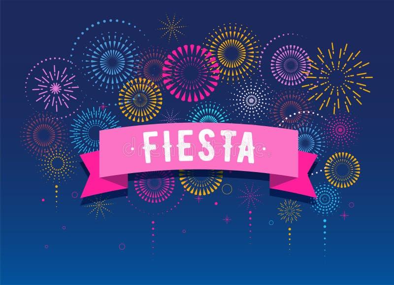 Fiesta, feux d'artifice et fond de célébration, gagnant, conception d'affiche de victoire illustration stock