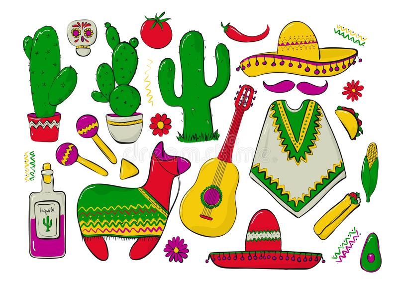Fiesta and Latin American festivals. A set of elements for design on a theme of mexico. Traditional Spanish objects stock illustration