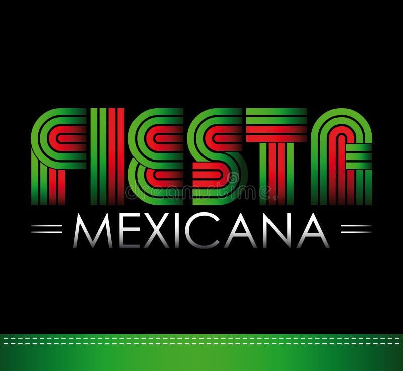 Fiesta Mexicana - meksykanina partyjny hiszpański tekst ilustracja wektor
