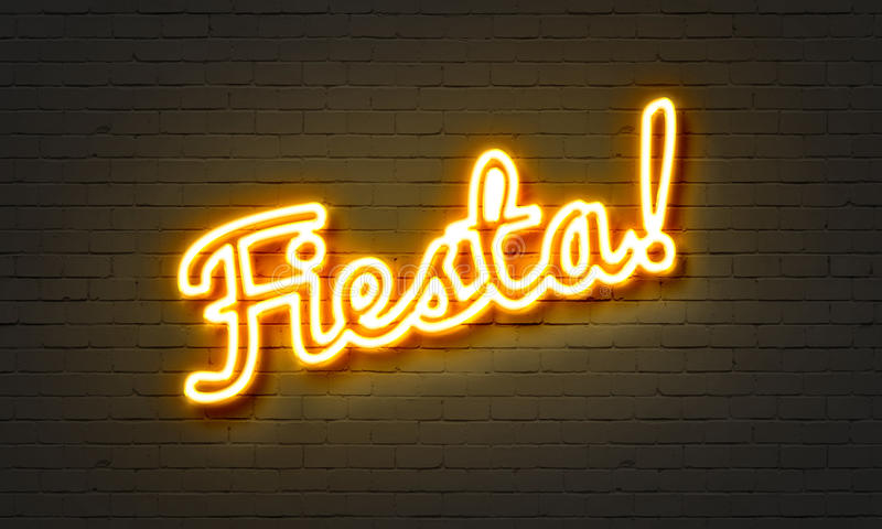 Fiesta neon sign on brick wall background. stock illustration