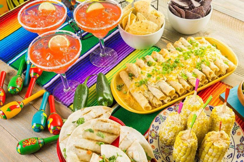 Fiesta buffet table. Fiesta party buffet table with traditional Mexican food royalty free stock photos