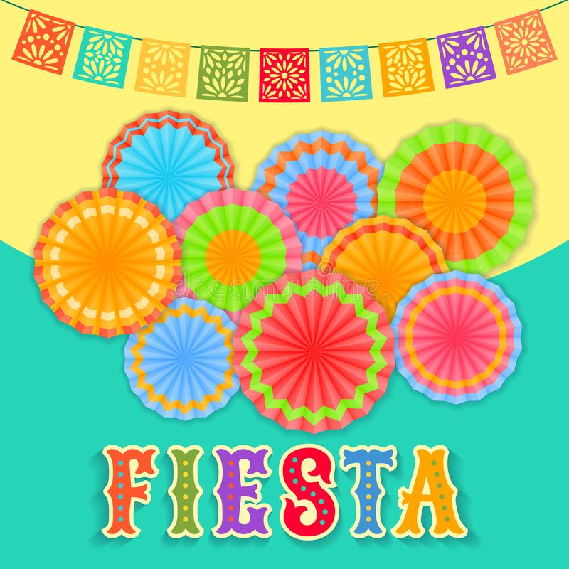 Free Fiesta Postcard, Paper Fans, Lace, Decorative Text Royalty Free Stock Photography - 118125427
