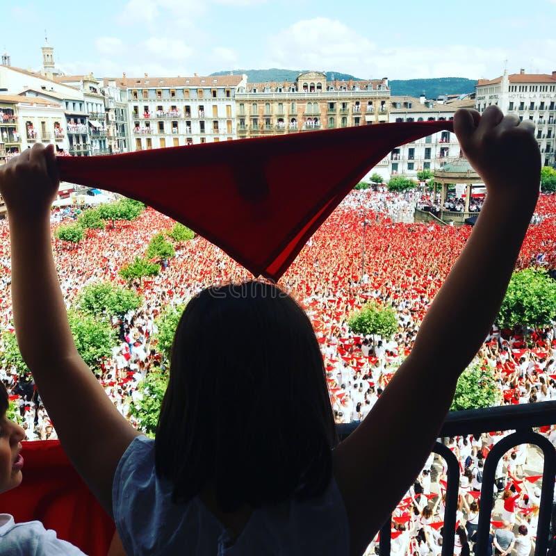 Fiesta principal de Sanfermines Pamplona en 2018 imagen de archivo