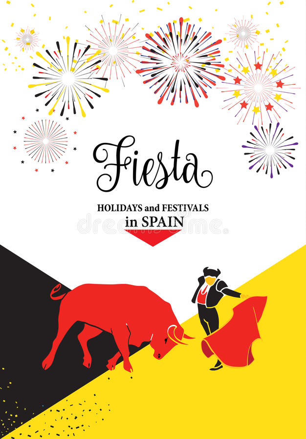 Fiesta Spain. Spain fiestas or festivals abstract poster. Spanish San Fermin Festivals, wallpaper. The running of the bulls is the main attraction in this famous stock illustration