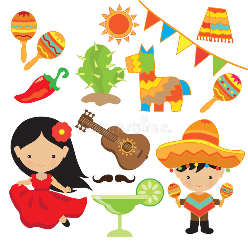 Fiesta vector illustration stock photos