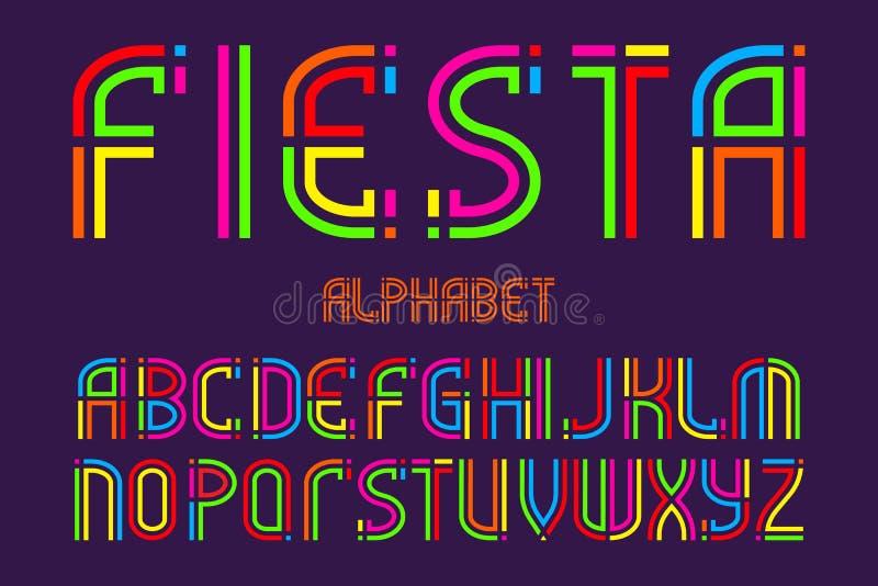 Fiestaalfabet Färgrik bokstavsstilsort Isolerat engelskt alfabet royaltyfri illustrationer