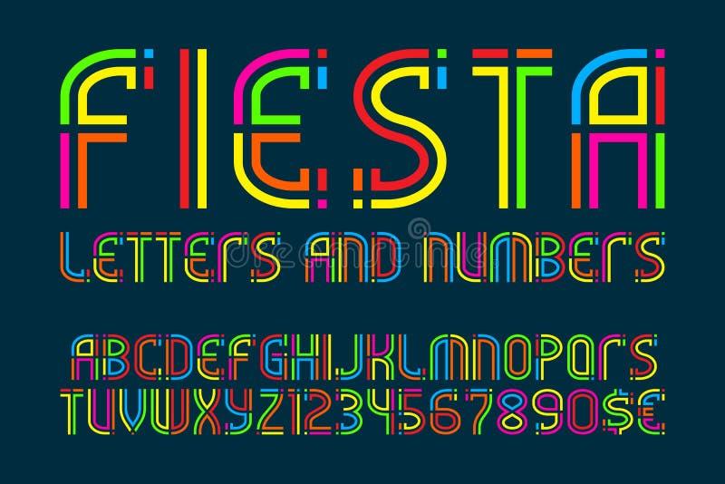 Fiestabokstäver och nummer med valutatecken F?rgrik bokstavsstilsort royaltyfri illustrationer