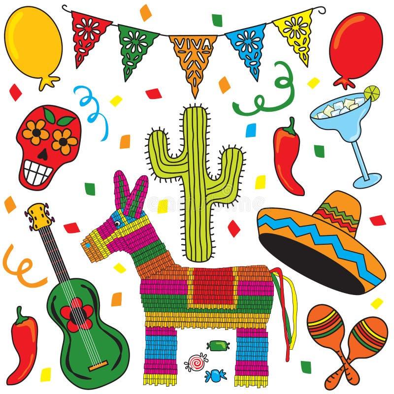 fiestamexikandeltagare stock illustrationer