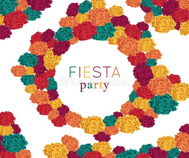 Fiestaparti Festlig bakgrund med pappers- blommor Designmall för inbjudan, hälsningkort, baner, tryck Färgrik dekor royaltyfri illustrationer