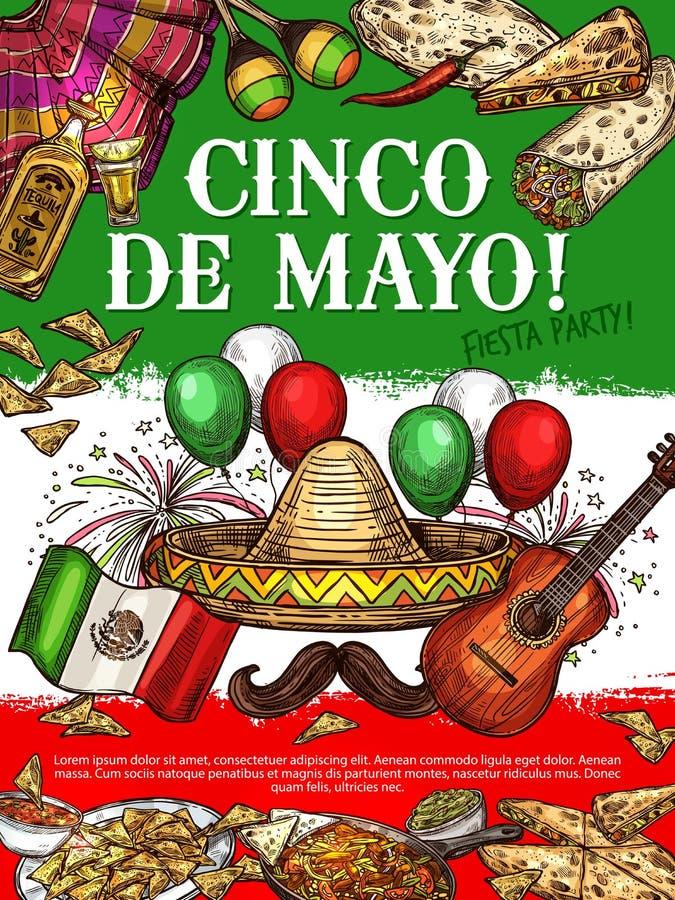 Fiestapartij, Cinco de Mayo Mexican-keukenschotels royalty-vrije illustratie