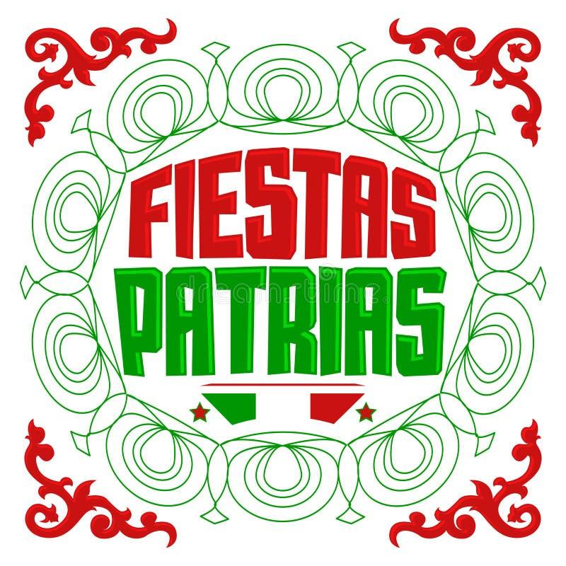 Fiestas Patrias - texto del español de las festividades nacionales libre illustration