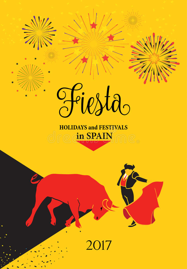 Fiestas Spain. Spain fiestas or festivals abstract poster. Spanish San Fermin Festivals, wallpaper. The running of the bulls is the main attraction in this stock illustration