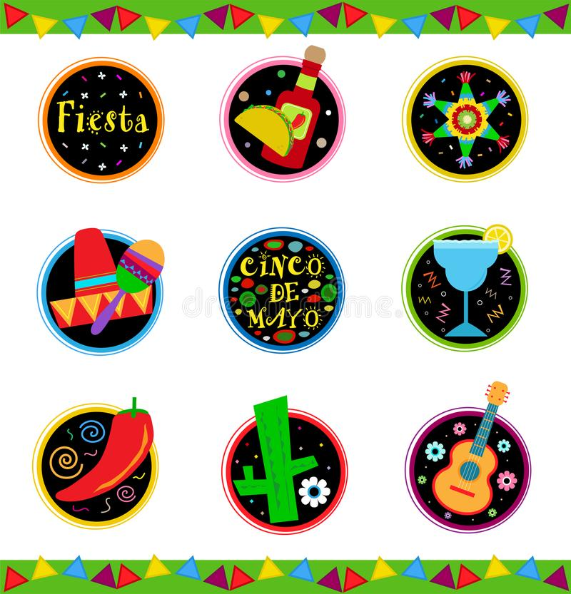 Fiestasymboler vektor illustrationer