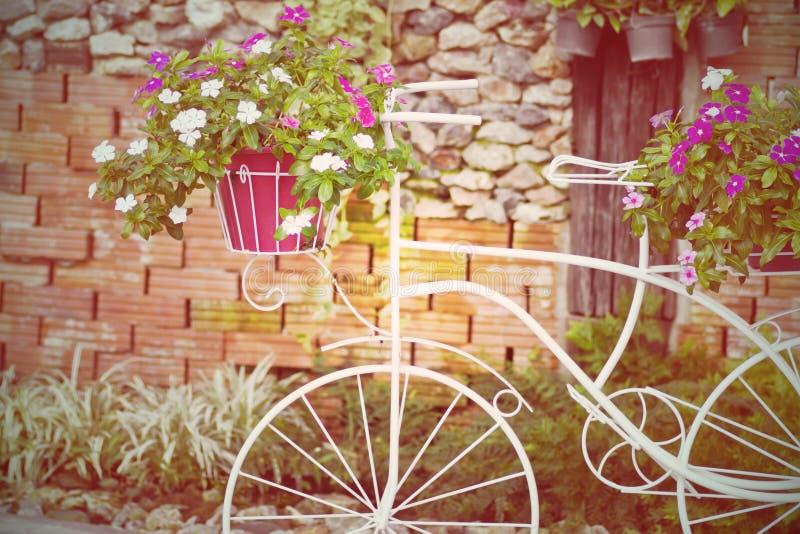 Fiets die met bloemen in de tuin wordt verfraaid stock afbeeldingen