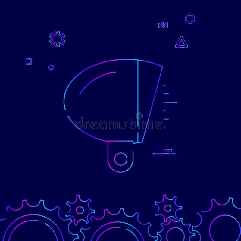 Fiets of Fiets het Uitstekende Pictogram van de Koplamp Vectorlijn, Symbool, Teken op een Donkerblauwe Achtergrond Verwante Bodem vector illustratie