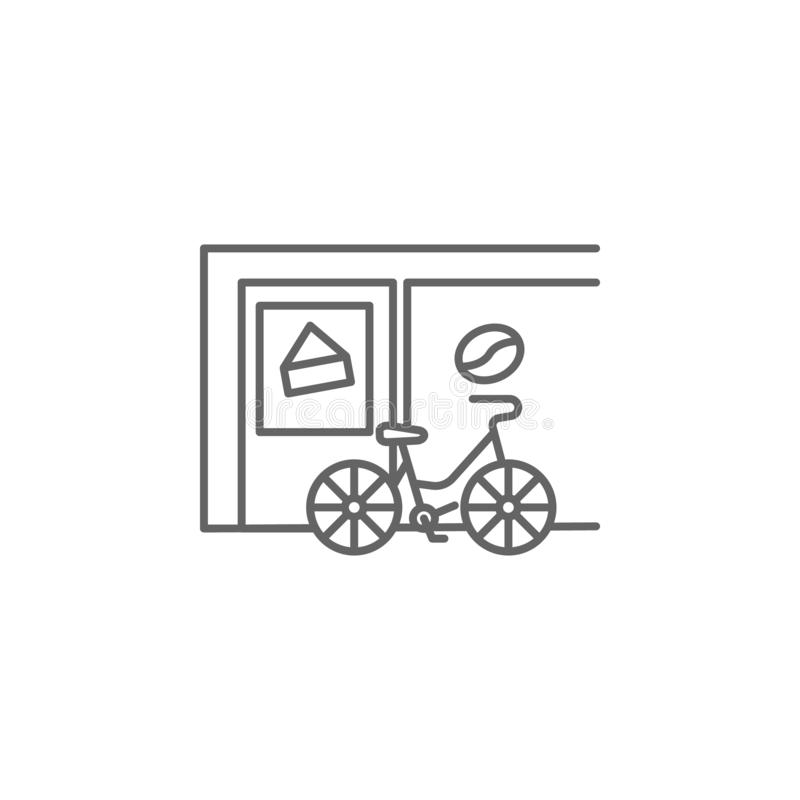 Fiets, koffiepictogram Element van het pictogram van Parijs Dun lijnpictogram voor websiteontwerp en ontwikkeling, app ontwikkeli stock illustratie