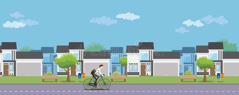 Fiets om gezonde levensstijl aan de stedelijke arbeider te werken stock illustratie