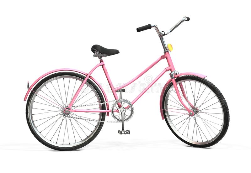 Fiets op een witte achtergrond Retro fiets het 3d teruggeven stock illustratie