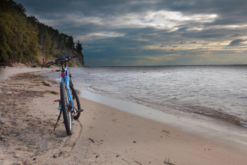 Fiets op het strand Gdynia, OrÅowo Polen royalty-vrije stock foto's