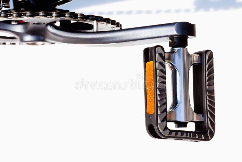 Fiets, pedaal met reflectors stock afbeelding
