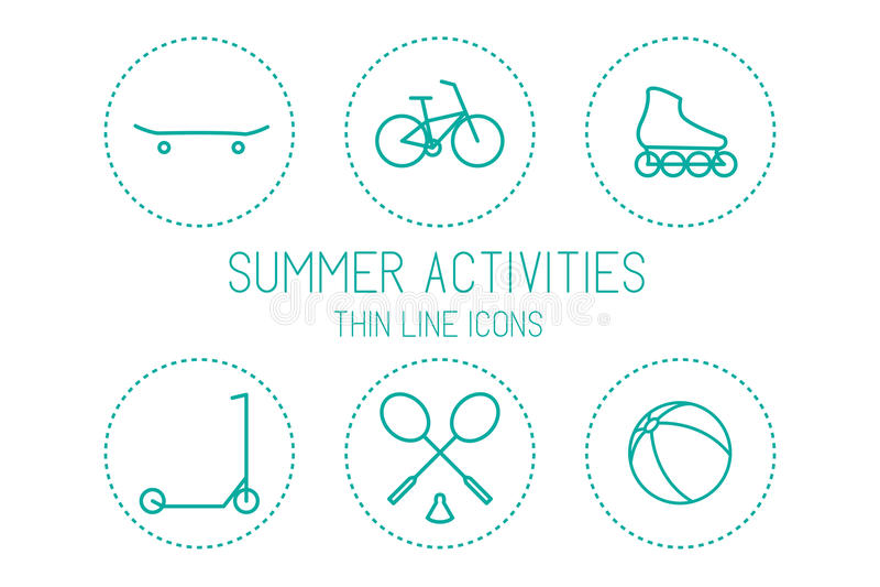 Fiets, skateboard, rolschaats, autoped, badminton, bal - de sport en de recreatie, silhouetteren op witte achtergrond vector illustratie