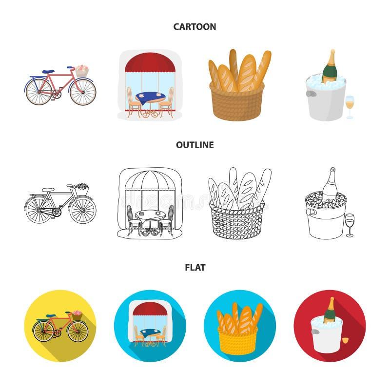 Fiets, vervoer, voertuig, koffie Vastgestelde de inzamelingspictogrammen van het land van Frankrijk in beeldverhaal, overzicht, d vector illustratie